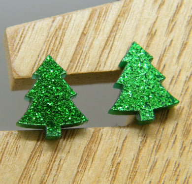 Green glitter Christmas tree stud