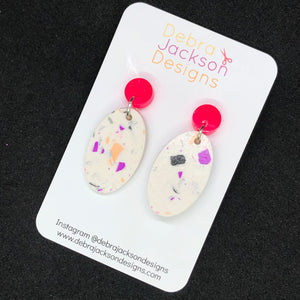 Pink neon terrazzo earrings