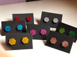 Glitter hexagon stud earrings