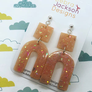 Geometric peach resin earrings
