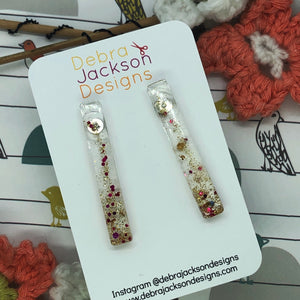 Red and gold drop bar earrings
