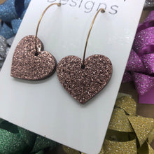 Load image into Gallery viewer, Bronze heart hoops