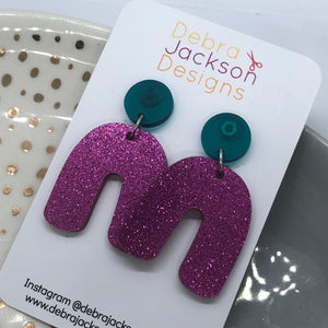 Pink and green arches earrings