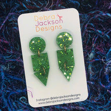 Load image into Gallery viewer, Green and gold statement earrings