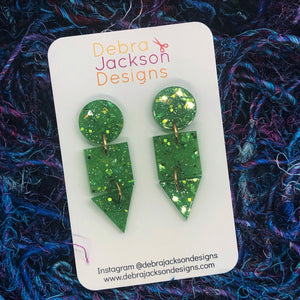 Green and gold statement earrings
