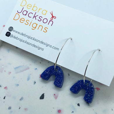 Blue glitter resin rainbow hoop