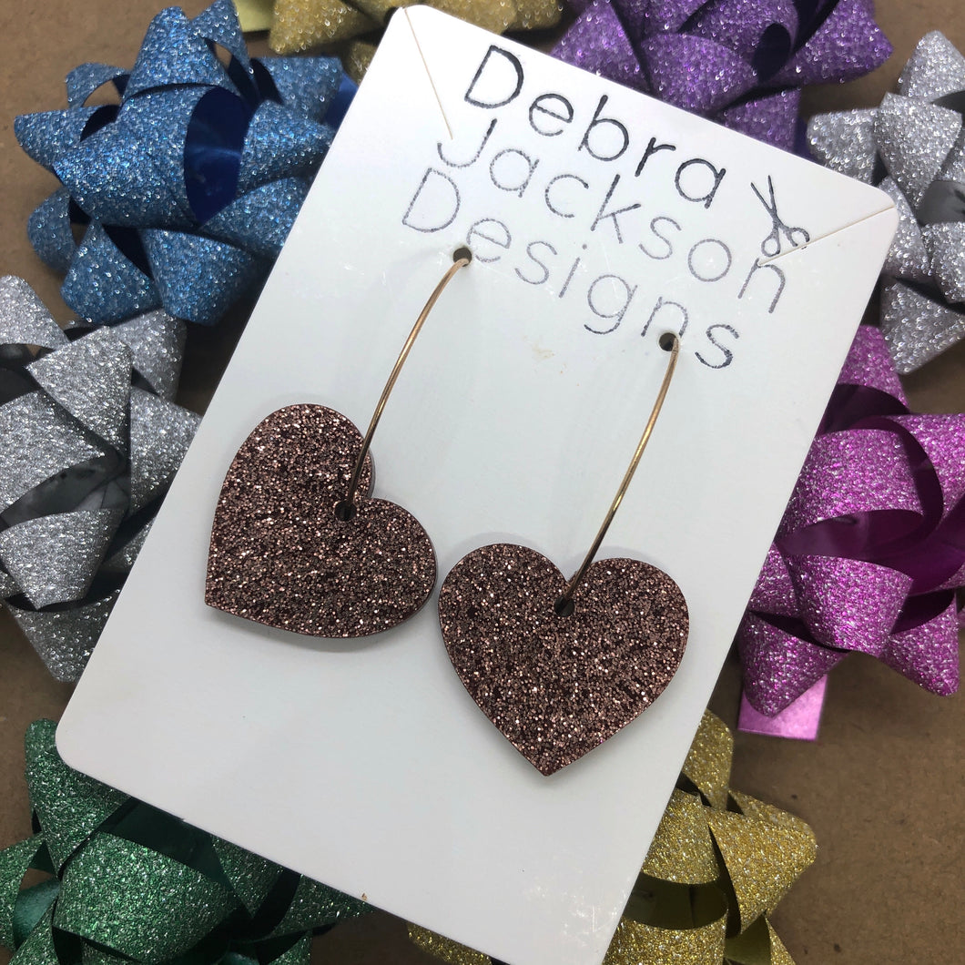 Bronze heart hoops