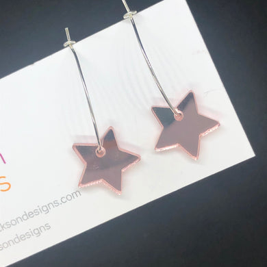 Small pink star hoop earring
