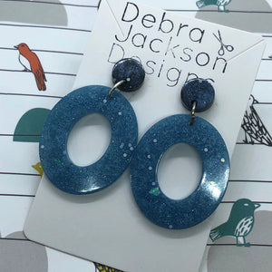 Stormy sky resin statement earrings