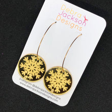 Load image into Gallery viewer, Gold snowflake hoop earrings