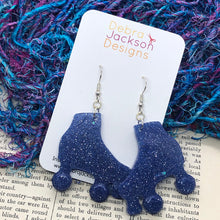 Load image into Gallery viewer, Blue glitter roller boot earring