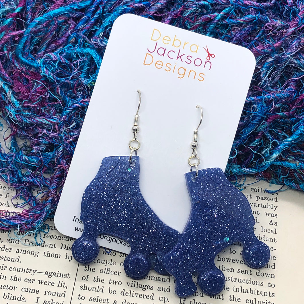 Blue glitter roller boot earring