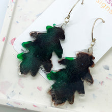 Load image into Gallery viewer, Green and brown leaf earrings