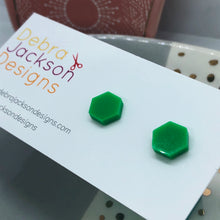 Load image into Gallery viewer, Hexagon stud earrings