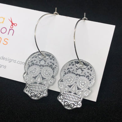 Silver sugar skull hoop earrings