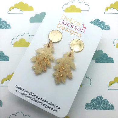 Cream and gold leaf earrings