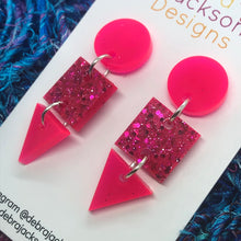 Load image into Gallery viewer, Pink neon geometric earrings