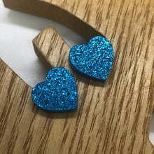 Load image into Gallery viewer, Glitter heart stud earrings