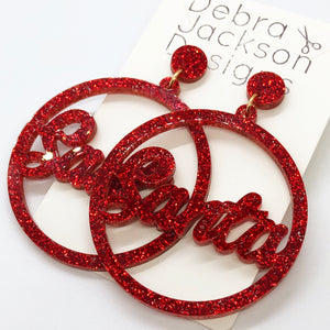 Red Santa Earrings