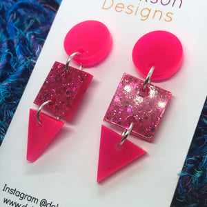 Pink neon geometric earrings
