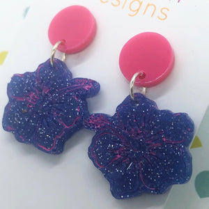 Pink and blue hibiscus earrings