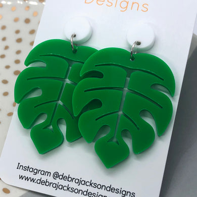 Green and white monstera earrings