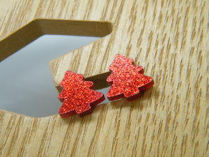 Red glitter Christmas tree stud earrings