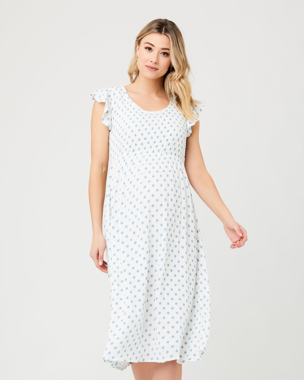 Dotty Shirred Dress