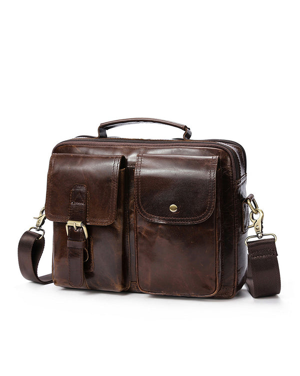 mens-Leather Man Purse/ Briefcase - Fredo [Coffee Brown] - Alexandre León