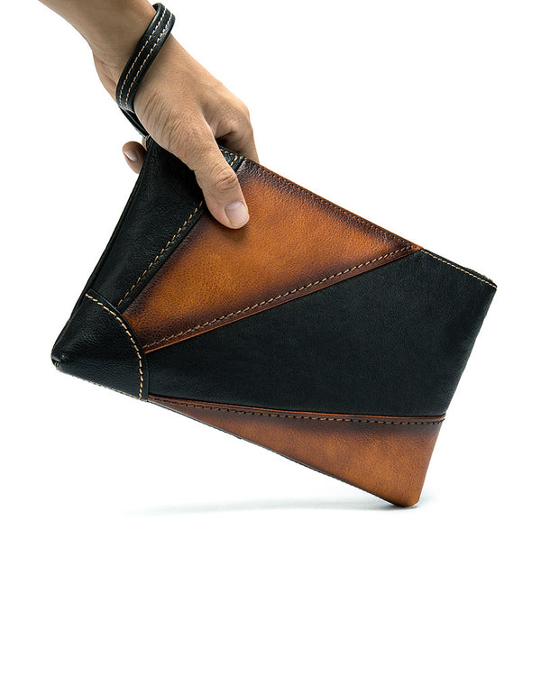 mens-Leather Clutch / Wallet - Gian [Black & Brown] - Alexandre León