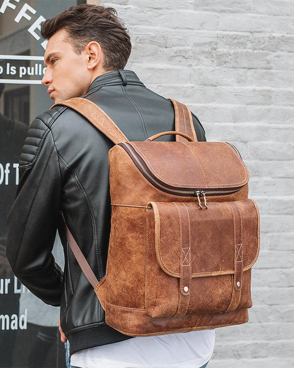 mens-Leather Backpack - Albright [Brown] - Alexandre León