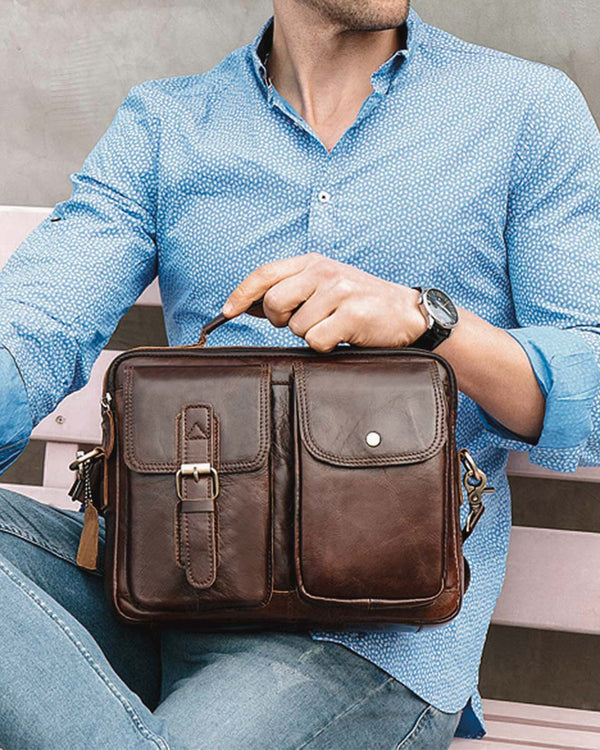 Leather Man Purse/ Briefcase - Fredo [Coffee Brown] - Alexandre León