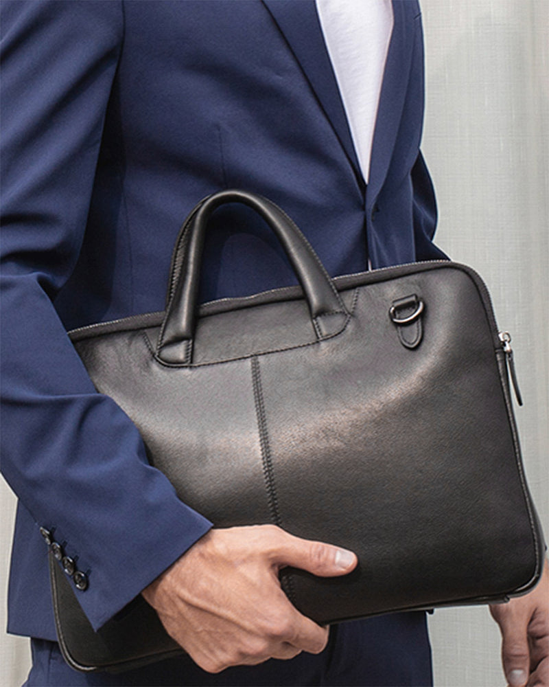 mens-Leather Briefcase/ Laptop Bag - Louis [Black] - Alexandre León