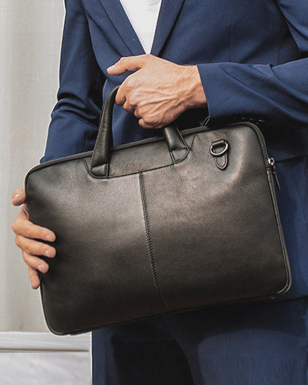 Leather Briefcase/ Laptop Bag - Louis [Black] - Alexandre León