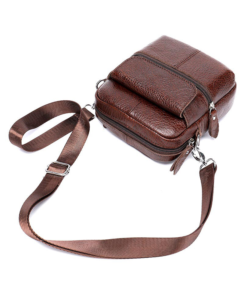 Leather Man Purse/ Mini Messenger Bag - Angelo [Coffee Brown] - Alexandre León