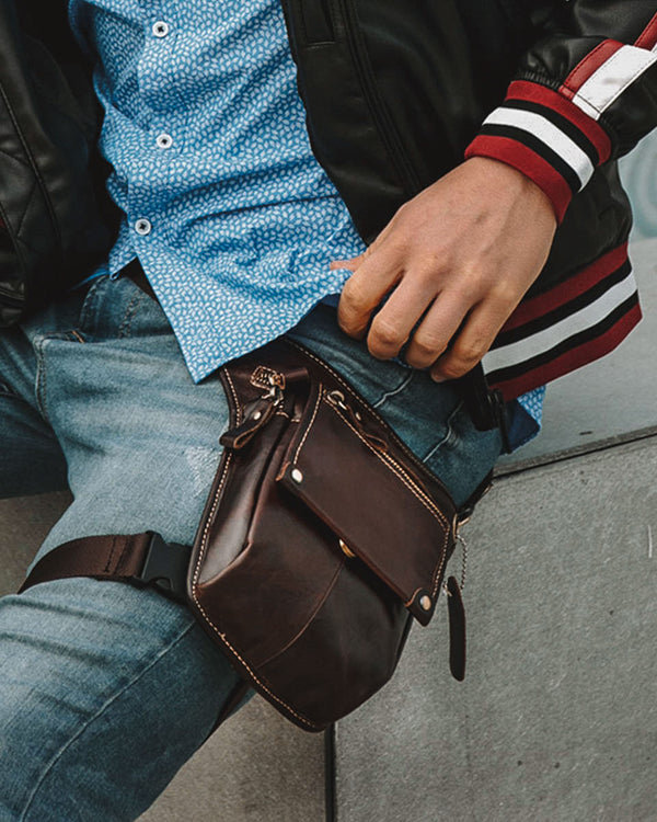 mens-Leather Leg Bag/ Waist Bag - Matteo [Brown] - Alexandre León