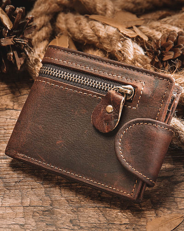 mens-Leather Wallet - Abel [Brown] - Alexandre León