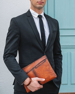 mens-Leather Clutch / Wallet - Reed [Brown] - Alexandre León