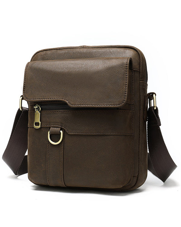 mens-Leather Man Purse/ Mini Messenger Bag - Outback [Brown] - Alexandre León