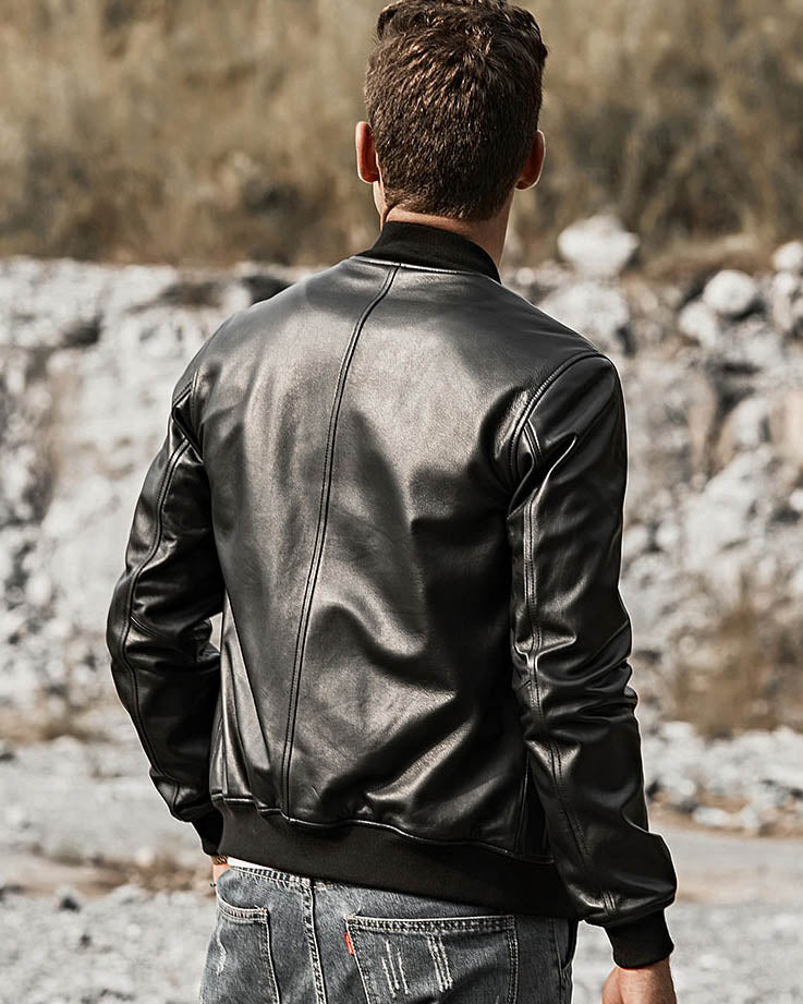 Bomber Leather Jacket - Gael [Black] - Alexandre León