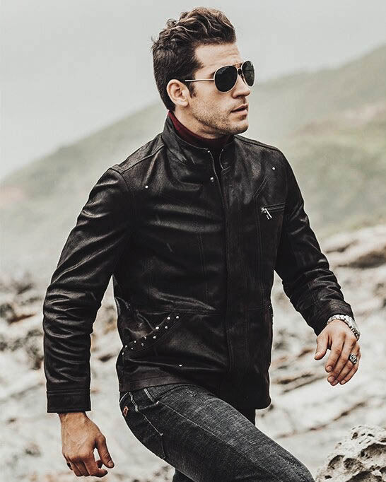 mens-Moto Leather Jacket - Simon [Black] - Alexandre León