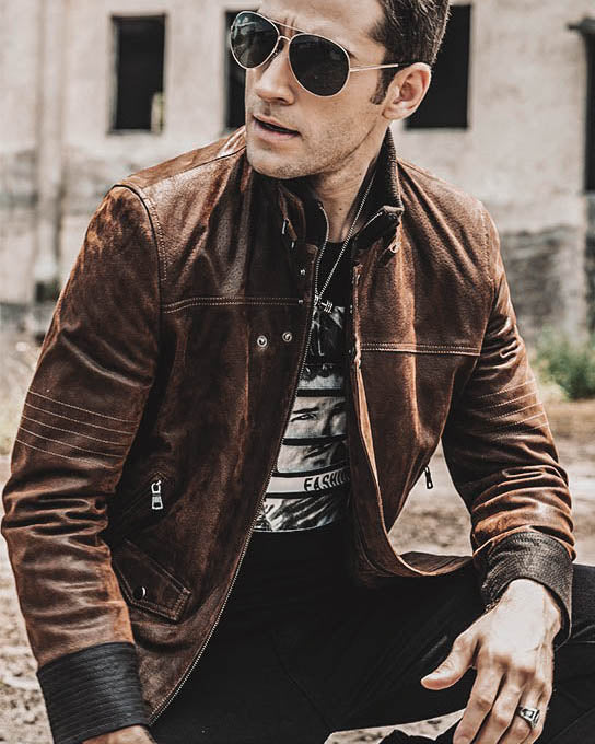 Moto Leather Jacket - Saoro [Brown]
