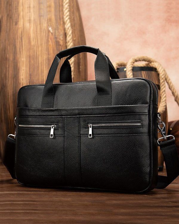 mens-Leather Briefcase/ Laptop Bag - Hugo [Black] - Alexandre León
