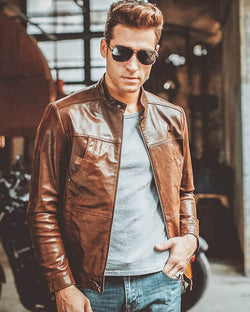 mens-Moto Leather Jacket - Nadal [Brown] - Alexandre León