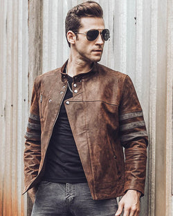 Moto Leather Jacket - Andreas [Brown] - Alexandre León