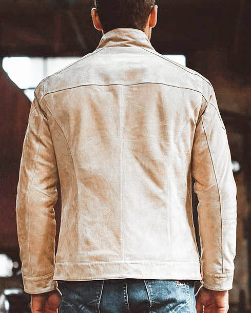 Leather Jacket - Bernardo [Cream] - Alexandre León