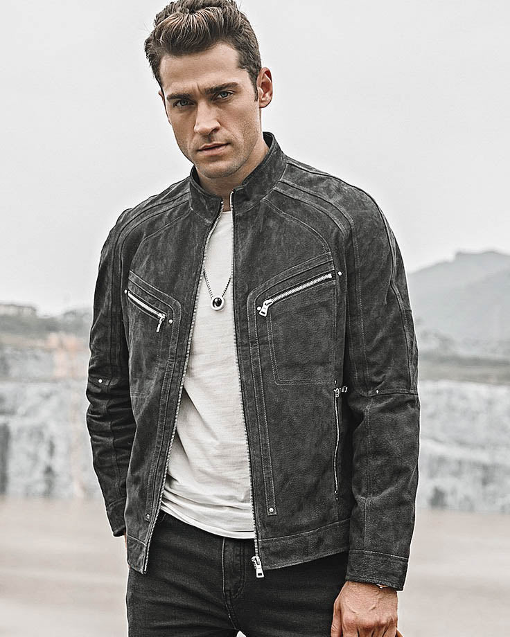 Moto Leather Jacket - Damian [Gray] - Alexandre León