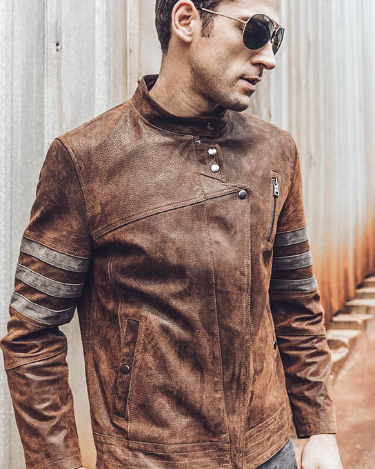 mens-Moto Leather Jacket - Andreas [Brown] - Alexandre León