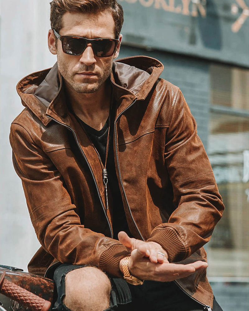 Hooded Leather Jacket - Anselmo [Brown] - Alexandre León