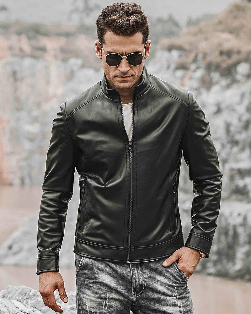 mens-Moto Leather Jacket - Claudio [Black] - Alexandre León